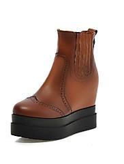 より多くの色が利用可能な婦人靴プラットフォームラウンドつま先ウェッジヒールアンクルブーツ