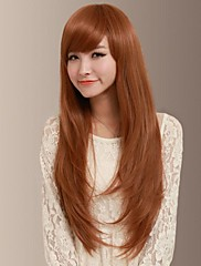 sladké jemné přirozeně dlouhé rovné boční bang vlasy paruka