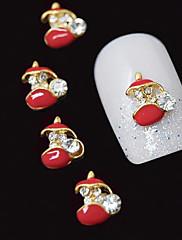 10個入りの赤いポットの3DラインストーンのDIY合金アクセサリーネイルアートの装飾
