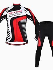 wolfbike男性の秋の冬のマウンテンバイク通気性長袖サイクリングスーツ - 赤+黒