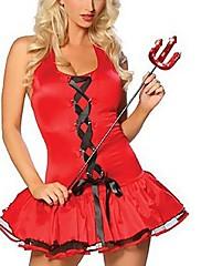 小さな赤い悪魔の天使の魔女ドレスDSパフォーマンスポールダンスの衣装