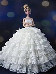 Večírek a hostina Šaty Pro Barbie Doll Biały Šaty