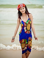 女性のファッションセクシーなヒマワリシフォンディープV水着水着ビキニカバーアップbeachdress