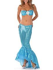 modré flitry mořská víla šaty s děleným dospělých žen je Halloween kostým