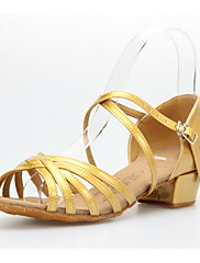 Non Prilagodljiv - Ženske / Djeca ' - Plesne cipele - Latin / Balska sala - Vještačka koža - Niska Heel - Zlato / Sive boje