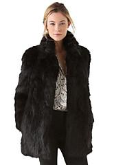 Mujer Chic de Calle Tallas Grandes / Noche Un Color Abrigo de Piel Manga Larga Invierno Piel Sintética / Algodón / Poliéster Negro Grueso