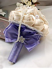 elegante hecho a mano de seda decorativa rosa ramos de novia boda Rhinestone flor champán con púrpura