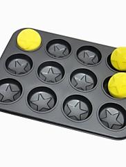 ケーキパンタルト用耐熱皿に高品質の炭素鋼の12穴の星形のベーキング金型