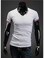 MEN Tシャツ ( コットンブレンド ) カジュアル Vネック - 半袖