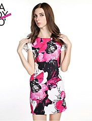 haoduoyi® Women's Graceful Big Flower Print Slim Fitted Back Long Zipper Dress