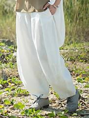 Střední  -  Není elastické  -  Volný  -  Dámské kalhoty ( Lněný )