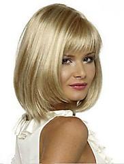 新しい女性光ブロンドの髪フルバングウィッグキャップ