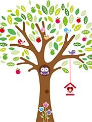 sovy hrají na barevné strom zeď štítku pro dětský pokoj zooyoo7223 dekorativní odstranitelné pvc Lepicí obraz na stěnu