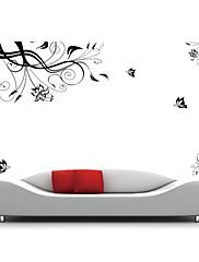 klasická černá květ vinné révy tv pozadí stěna obtisk zooyoo028 dekorativní odstranitelné PVC stěna nálepka