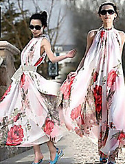 WOMEN - セクシー / カジュアル - ドレス (シフォン スタンド - ノースリーブ