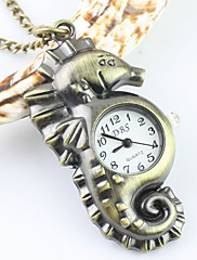 ユニセックス海馬パターン合金アナログクォーツキーチェーンネックレス懐中時計