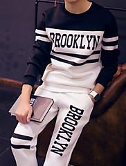 Pánské Bavlna Tisk/Jednobarevné Activewear Sady Denní nošení/Pracovní/Formální/Sportovní/Větší velikosti Dlouhý rukáv