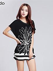 婦人向け ラウンドネック フリル Tシャツ , リネン/コットン混 半袖