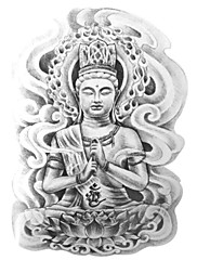 goodturn tetování samolepky netoxický / spodní části zad / vodotěsný ostatní / dospívající vícebarevný 19cm * 12cm buddha