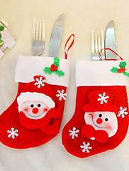 クリスマスディナーテーブルパーティの装飾用のナイフフォークの布カバーのサンタの靴下(1枚、ランダムカラー)