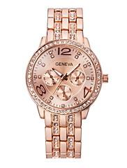 女性の腕時計のファッションの結晶ストリップクォーツジュネーブ時計