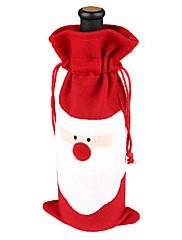クリスマスディナーテーブルパーティの装飾のためのワインボトル布カバーのサンタ服(1枚)