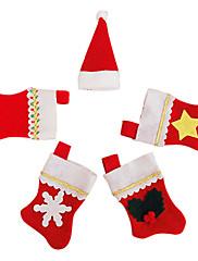クリスマスディナーテーブルパーティの装飾(1セット)のためのナイフフォーク布カバーで5サンタの靴下