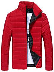 Pánské Bavlna / Akryl / Polyester Jednobarevné Obyčejný S vycpávkou Kabát Dlouhý rukáv
