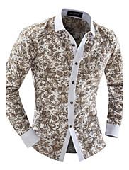 Pánské Tisk Denní nošení / Pracovní Dlouhý rukáv Polyester Košile Vícebarevné