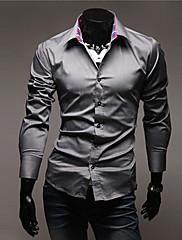 Pánské Jednobarevné Denní nošení / Pracovní / Formální Dlouhý rukáv Polyester Košile Černá / Bílá / Šedá