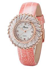 dámská módní novinka delikátní kulatý ciferník kožené kapela quartz analogové náramkové hodinky (Smíšený Barva)