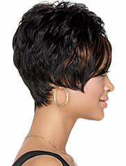 女性のファッション短い黒髪合成かつら