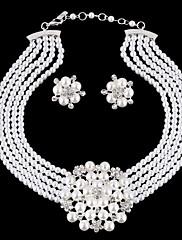 ジュエリーセット 真珠 ラインストーン 銀メッキ 模造ダイヤモンド 合金 誕生石です. 結婚式 ファッション 高級ジュエリー ブルー 結婚式 パーティー 1セット ネックレス イヤリング・ピアス ウェディングギフト