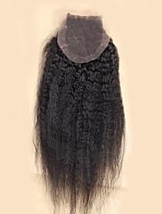 10-20inch ナチュラルブラック (#1B) ハンドタイ ストレート 人毛 閉鎖 ミディアムブラウン スイスレース 20-60g グラム 小柄 / 標準 / ラージ キャップサイズ