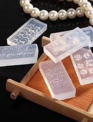 10ks campuran desain kutilství 3D nail art make up nástroje akrilik Silikon cetakan ditetapkan