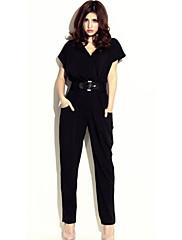 WOMEN - セクシー / ボディコン / カジュアル - ジャンプスーツ ( コットンブレンド Vネック - 半袖