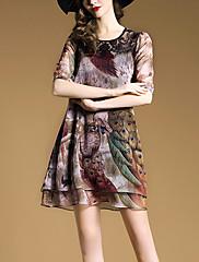 婦人向け ストリートファッション ルーズ ドレス,アニマルプリント 膝上 ラウンドネック ポリエステル