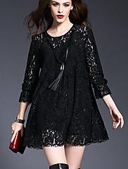 婦人向け ストリートファッション ルーズ ドレス,ソリッド 膝上 ラウンドネック ポリエステル