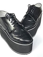 シューズ ロリータパンク 手作り ウエッジヒール シューズ ゼブラプリント 8 CM ブラック のために 女性 レザー