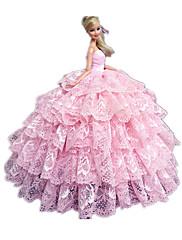 プリンセスライン ドレス ために バービー人形 ピンク ドレス のために 女の子の 人形玩具