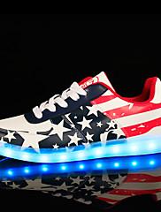 Žene Proljeće Ljeto Jesen Zima Osvijetlite Shoes Udobne cipele Umjetna koža Ležeran Atletika Ravna potpetica Vezanje Mat selotejpViše