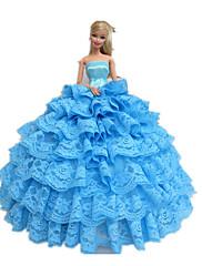 プリンセスライン ドレス ために バービー人形 シアン ドレス のために 女の子の 人形玩具