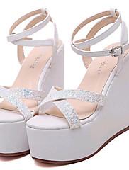 Ženske cipele-Sandale-Aktivnosti u prirodi / Ležerne prilike-Umjetna koža-Puna potpetica-Pune pete / Štikle-Bijela / Srebrna