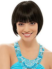 kratki bob visoke kvalitete sintetička prirodna crna ravna kosa perika puna bang