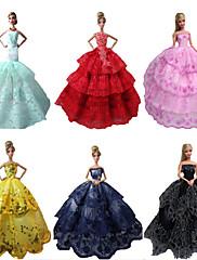 パーティー/イブニング ドレス ために バービー人形 レッド / ブラック / ピンク / イエロー / インクブルー / シアン ドレス のために 女の子の 人形玩具