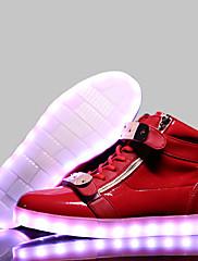 Žene Proljeće Ljeto Jesen Zima Udobne cipele Osvijetlite Shoes Koža Ležeran Atletika Ravna potpetica Vezanje Mat selotejpCrna Plava