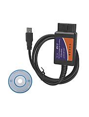 usbのOBD2 ELM327自動車診断テストライン、プラスチックシェル