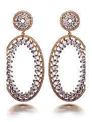 Visací náušnice Kubický zirkon Módní Bohemia Style Zirkon Měď Pozlacené Oval Shape Zlatá Šperky Pro Svatební Párty Denní Ležérní 1 pár