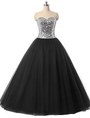 フォーマルイブニング ドレス ボールガウン スイートハート フロア丈 チュール とともに クリスタル装飾 / スパンコール