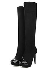 女性-オフィス カジュアル-レザーレット-スティレットヒール-ファッションブーツ-ブーツ-ブラック レッド グレイ